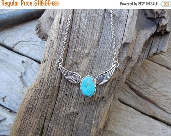 ON SALE Winged Turquoise necklace handmade in sterling silver 925