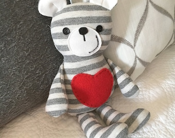 Soft Teddy bear, recycled clothing, upcycled sweatshirt, green gift idea, Valentine's Day gift idea, Striped Teddy Bear, upcycled clothing