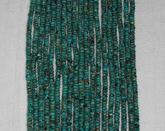 Turquoise, Turquoise Rondelle, Turquoise Bead, Natural Stone, Gemstone Bead, Blue Green Turquoise, Full Strand, 6mm