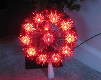 Vintage Red Lighted Christmas Tree Topper