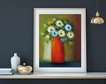 "Original oil or printing giclee canvas or paper, Boho floral art, home decor orange vase, Oil on canvas 16""x20"" modern still life"