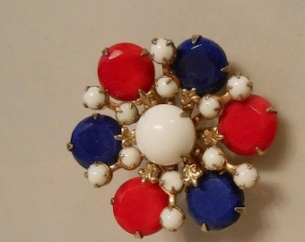 Clearance 60% Off Bursting Patriotism - 1960s Red White & Blue Glass Circular Brooch