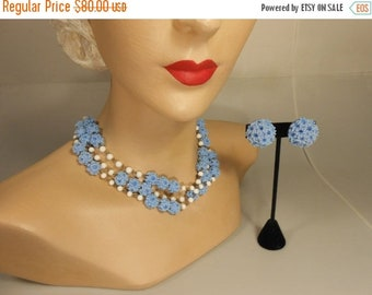 Anniversary Sale 35% Off Hyacinthes in the Garden - Vintage 1950s Hyacinth Blue Celluloid Popcorn Bead 2 Strand Necklace & Earring Set