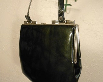 Anniversary Sale 35% Off It's My Everything Bag - Vintage 1950s Dark Forest Olive Green Patent Leather Handbag - Nicholas Reich