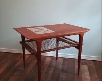 Danish teak table, rattan woven shelf, marble inlay