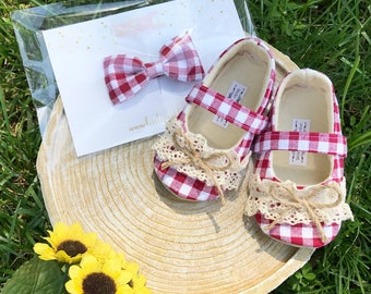 Baby Girl Shoes Toddler Girl Soft Soled Shoes Wedding Shoes Flower Girl Shoes summer  Red Gingham shoes denim shoes - June