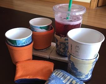 Orange Polka Dot Coffee Sleeve/Cozy