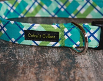 "Dog Collar ""The Hello Plaid in Green"" Multi Colored Plaid Dog Collar"