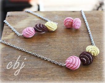 Pan Dulce Necklace, Pan Dulce Bracelet, Pan dulce Post Earrings, Pan Dulce Jewelry Set, Handmade, Polymer Clay Pan Dulce Jewelry Set
