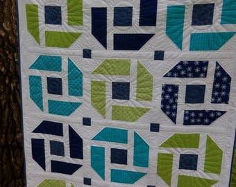 Modern Quilt, Lap Quilt, Blue Quilt, Green Quilt, Handmade Quilt, Throw Quilt