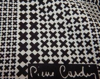 ON SALE Piere Cardin Black and White Hanky Handkerchief Scraf
