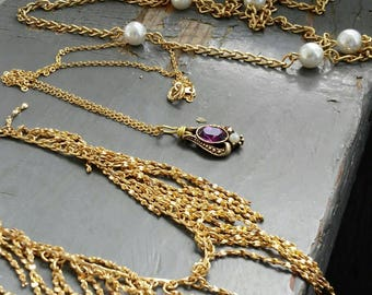 Gold Rush - 3 individual graduated chains, purple crystal, pearls, fancy fringe link, vintage gold metalwork necklace collection