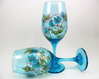 Wine Glasses Aqua Blue Flowers with CopperAccents Hand Painted - Set of 2
