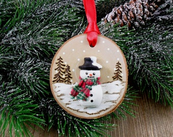 Wood Burned Snowman Ornament Birch Slice Christmas Hand Burned - Painted