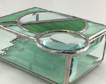 Earthy Shades of Green and Clear Bevel Circle Stained Glass Box