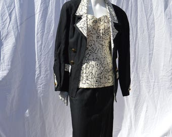Vintage CHANEL 3 pieces dress suit from 1993 Chanel spring collection corset like top skirt and jacket size 42 by thekaliman