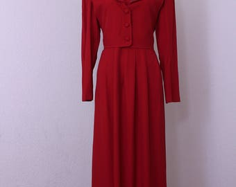 Vintage Red Dress Long Sleeves Maxi Metallic  Corded Appliques