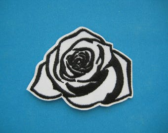 Iron-On embroidered Patch White ROSE 2.5 inch