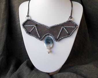 Bat Necklace women cosplay Victorian choker Light Gray Suede Genuine Leather Pendant Agate Beads Embroidered necklace gift Beaded Bib collar