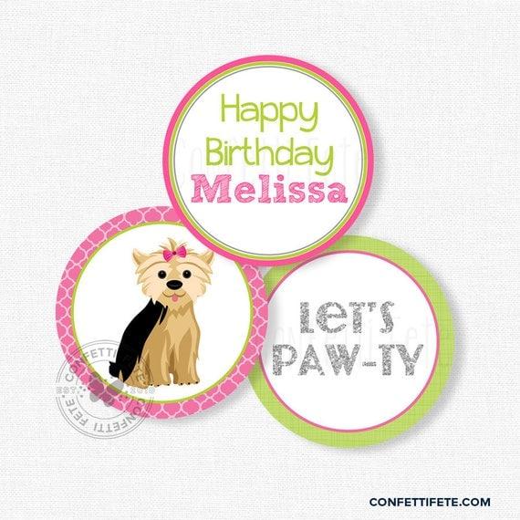 Puppy Party Centerpiece Circles Dog Birthday Decorations Yorkie