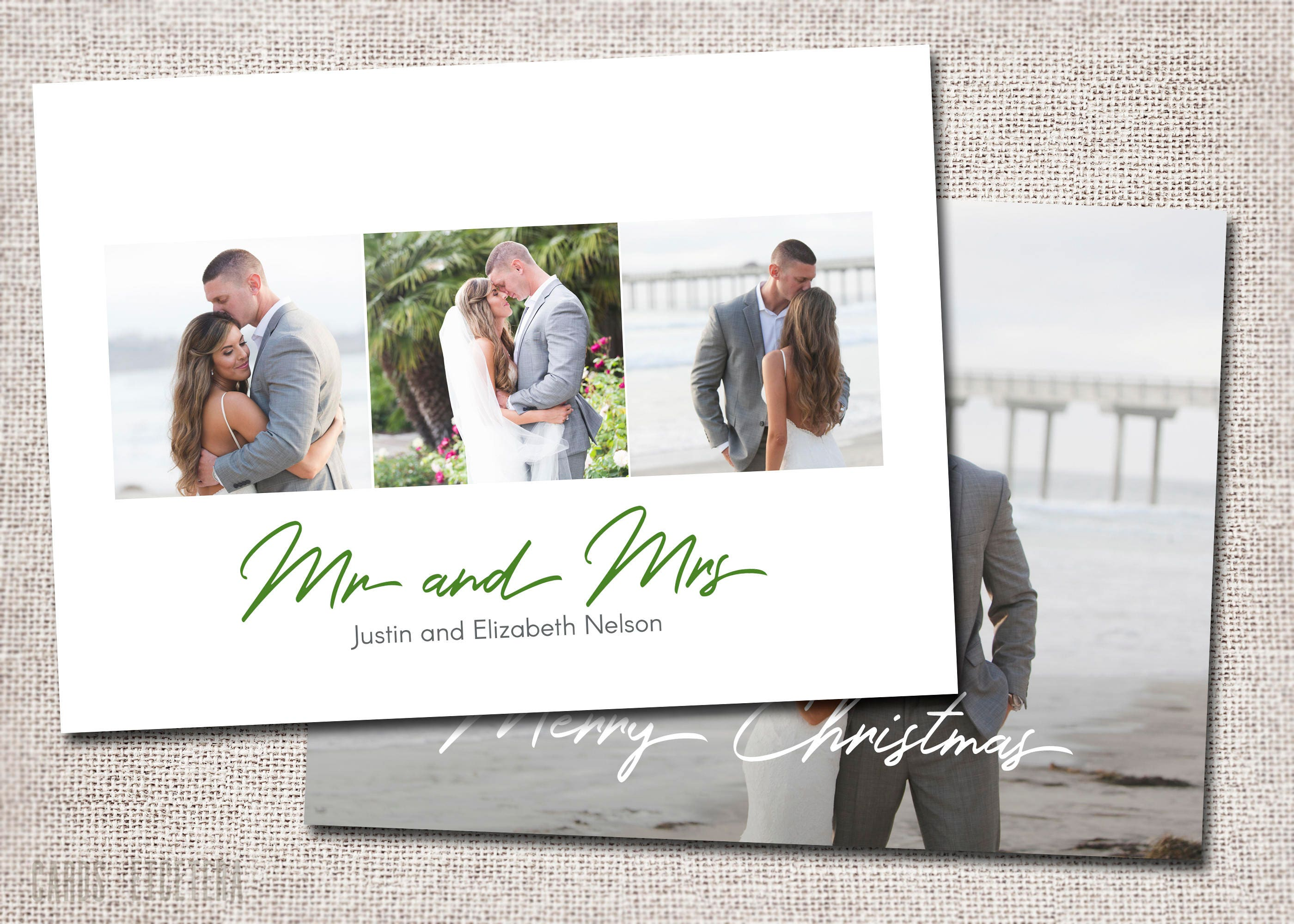 Mr and Mrs Christmas card, First Christmas, Married, Wedding ...