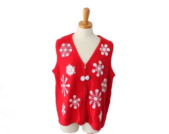 50% half off sale // Vintage 90s Snowflake Pattern Red and White Sweater Vest // Women XL // Nordic, ugly Christmas jumper
