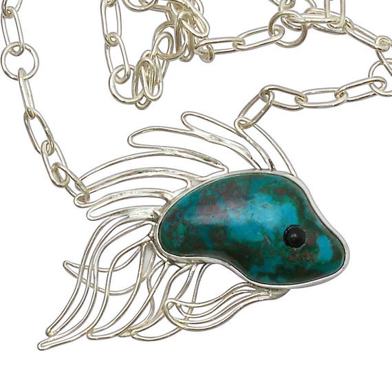 Chrysocolla and Black Onyx Tropical Fish Necklace Set in Sterling Silver   nchrj2899
