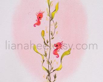 Smitten Seahorsies fine art print