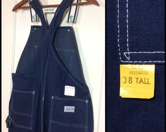 deadstock 1980's dark wash blue denim Carter's Overalls 38x34 tall Made in USA NWT NOS watch the wear