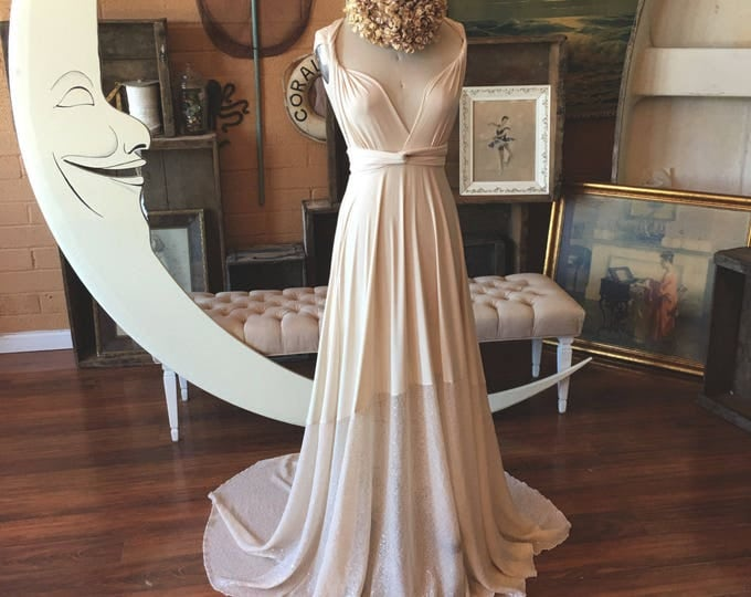 """Ready Made~Standard Size 50"""" length w/ Train Ivory Sequin Sparkle Octopus Infinity Wrap Dress - Vintage Bridal, 1920s Gatsby Wedding,"""