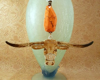 Ornament - Hand Painted Texas Longhorn with Burnt Orange Howlite and Hand Torched Lampwork Bead - BEVO