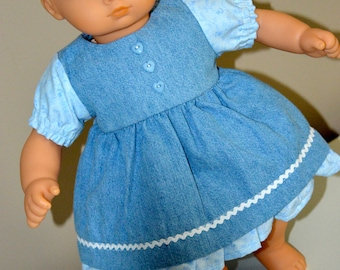 15 Inch Baby Doll Clothes Two Piece Outfit Short Sleeve Denim Dress and Corresponding Panties by SEWSWEETDAISY