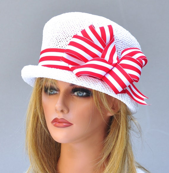 Kentucky Derby Hat, Wedding Hat, Red and White Hat, Ascot Hat, Formal Hat