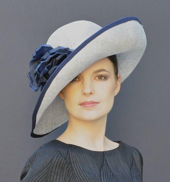Wedding Hat, Derby Hat, Ladies Navy Hat, Ladies Gray Hat, Wide Brim Hat, Formal Hat, Church Hat, Ascot Hat, Big Hat, Occasion Hat
