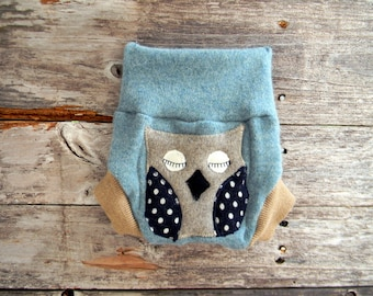 Upcycled CASHMERE Soaker Cover Diaper Cover With Added Doubler Seagreen/ Beige With Owl Applique NEWBORN 0-3M Kidsgogreen