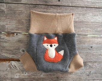 Upcycled Merino Wool Soaker Cover Diaper Cover With Added Doubler Gray /Beige With Fox Applique LARGE 12-24M Kidsgogreen