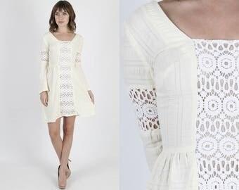 Vintage Boho Dress Prairie Dress Boho Wedding Dress Lace Dress Hippie Dress 70s Dress Floral Crochet Ivory Bell Sleeve Hippie Mini Dress