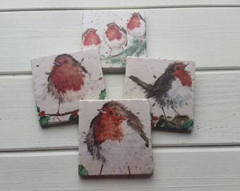 Cute Whimsical Robin Stone Coaster Set of 4 Tea Coffee Beer Coasters