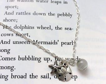 Mermaid Charm Necklace, Mermaid Treasure, Mermaid Jewellery, Beachcomber, Starfish Necklace, Sand Dollar Necklace, Sterling Silver, Beach