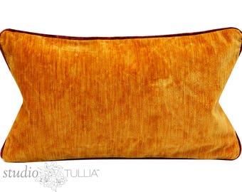 Vintage Velvet Pillow Cover - 13x22 inch - Apricot Orange Strie Velvet - Lumbar - mid century - made to order