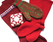 Group of Antique Socks and Mitten - Primitive Wool Hand Knit - Pair of Red Stockings - Winter Clothing Lot Early 1900s Christmas Decoration