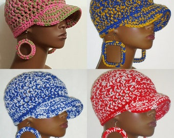 Sorority Chunky Crochet Baseball Cap with Earrings  Razondalee  Alpha Kappa Alpha, Sigma Gamma Rho, Delta Sigma Theta, Zeta Phi Beta