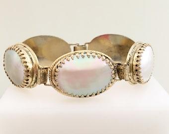 Whiting & Davis Mother of Pearl Bracelet - Vintage Jewelry, Big Oval Links, Prong Set MOP Cabochons, Gold Tone Safety Chain Vintage Bracelet