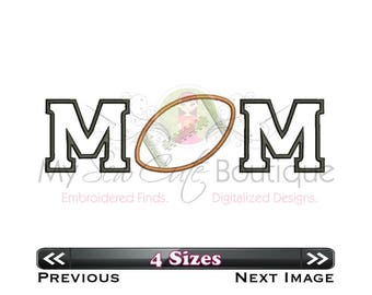 Football Mom Applique Designs Machine Sports Files Downloads - Applique Downloads - 4 Sizes - Instant Download