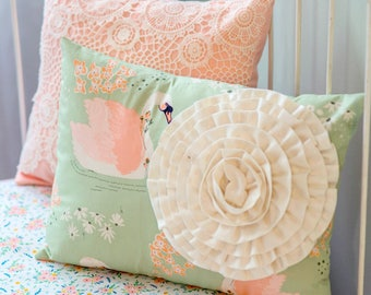 Swan Love Peach and Mint Accent Pillows | Custom Nursery Throw Pillows including Elegant Crochet Lace and Fabric Rosette Flower