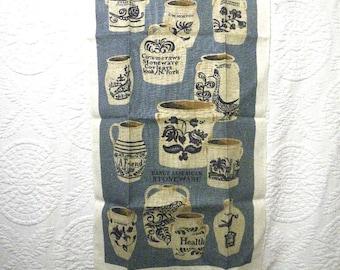 American Stoneware Linen Kitchen Towel Kay Dee Label Unused Traditional Pottery Crocks Design