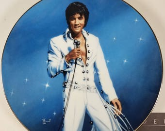 "1991 Delphi Limited Edition ""King of Las Vegas"" Elvis Presley Ceramic Plate COA Wall Art"