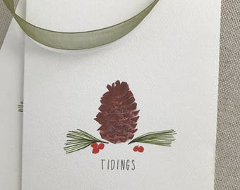 Illustrated Cards, Pinecone Cards, Tidings Holiday Cards, Thank You Cards, Set, Blank Inside, Greeting Cards, Holiday Hostess Gift, PineTree