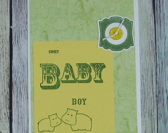 Green and Yellow Baby Boy Card with Hippos-CB81217-66