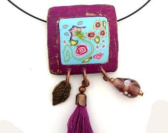 Collier esprit céramique en polymère, entourage violet et or